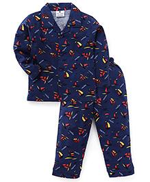 Olio Kids Full Sleeves Night Suit Sailor Print - Navy