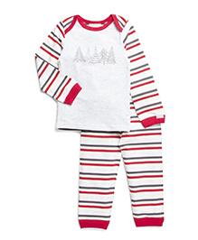 Coccoli Stripe Print Top & Bottom Set - White & Red