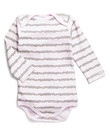 Coccoli Full Sleeves Stripe Print Onesie - Grey & Light Pink