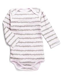 Coccoli Full Sleeves Stripe Print Onesie - Grey & Light Pink