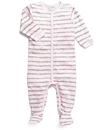 Coccoli Stripe Print Romper With Footie - Pink & White