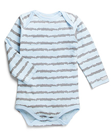 Coccoli Full Sleeves Stripe Print Onesie - Blue