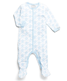 Coccoli Star Print Romper With Footie - Blue & White