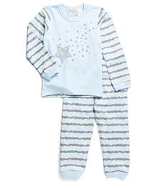 Coccoli Star & Stripe Print Top & Pant Set - Blue & Grey