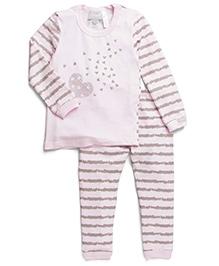 Coccoli Heart & Stripe Print Top & Pant Set - Pink & Grey