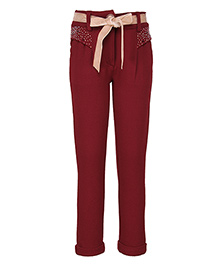 Cutecumber Full Length Party Wear Trouser With Fabric Belt - Maroon