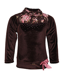 Cutecumber Full Sleeves Party Wear Top Bow Applique - Brown