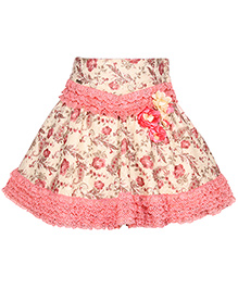 Cutecumber Party Wear Skirt Floral Appliques - Peach Light Yellow