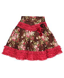 Cutecumber Party Wear Skirt Floral Appliques - Brown Dark Pink