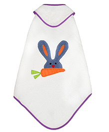 Little Bum Organic Rabbit Print Hooded Towel - Blue