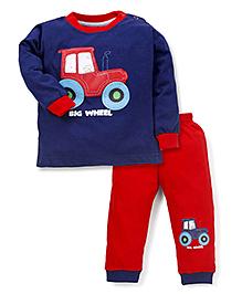 Babyhug Full Sleeves Night Suit Big Wheel Print - Navy Blue & Red