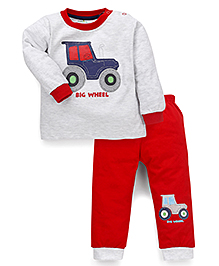 Babyhug Full Sleeves Night Suit Big Wheel Print - Light Grey & Red