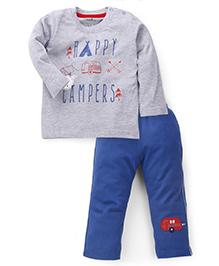 Babyhug Full Sleeves Night Suit Happy Campers Print - Grey & Blue