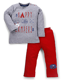 Babyhug Full Sleeves Night Suit Happy Campers Print - Grey & Red