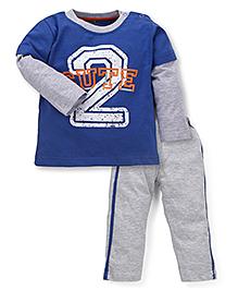 Babyhug Full Sleeves Night Suit 2 Cute Print - Grey & Royal Blue