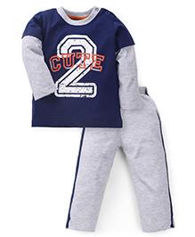 Babyhug Full Sleeves Night Suit 2 Cute Print - Grey & Navy Blue