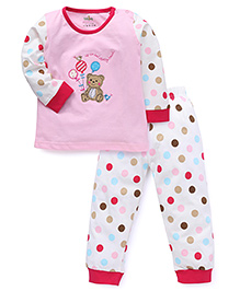 Babyhug Full Sleeves Night Suit With Teddy Patch - Pink White