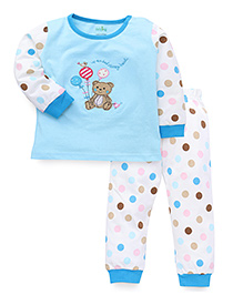 Babyhug Full Sleeves Night Suit With Teddy Patch - Aqua White