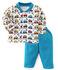 Cucumber Full Sleeves Car Printed Night Suit - Teal Blue