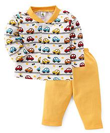 Cucumber Full Sleeves Car Printed Night Suit - Yellow