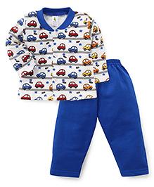 Cucumber Full Sleeves Car Printed Night Suit - Royal Blue