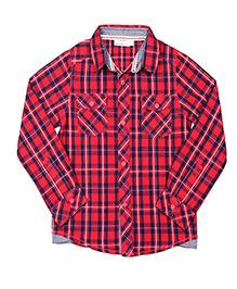 ShopperTree Yarn Dyerd Cotton Shirt Checks Pattern - Red
