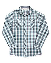 ShopperTree Yarn Dyerd Cotton Shirt Checks Pattern - Blue And White