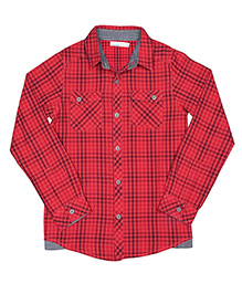 ShopperTree Yarn Dyerd Cotton Shirt Checks Pattern - Red And Black