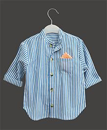 A.T.U.N Mandarin Stripe Collar Shirt - Blue