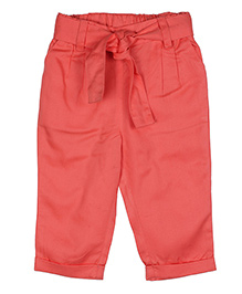 ShopperTree Solid Color Pant With Belt - Peach