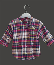 A.T.U.N Mandarin Collar Casual Shirt With Plaid Print - Brown
