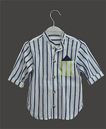 A.T.U.N Mandarin Collar Stripe Shirt - Blue