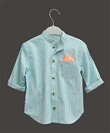 A.T.U.N Mandarin Collar Pinstripe Print Shirt - Mint Green