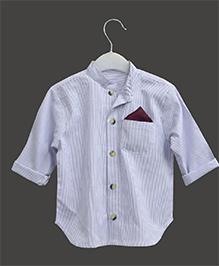 A.T.U.N Mandarin Collar Pinstripe Print Shirt - Mauve