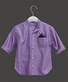 A.T.U.N Mandarin Collar Stripe Shirt - Lilac