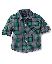 Cucumber Full Sleeves Checkered Shirt - Green