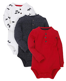 Carter's Full Sleeves Thermal Henley Bodysuits Pack Of 3 - Multicolor
