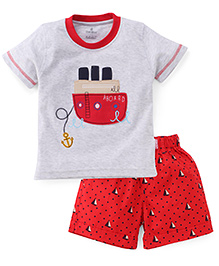 Child World Half Sleeves T-Shirt And Shorts - Grey Red