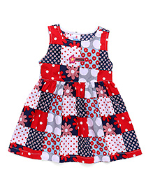 Child World Sleeveless Frock Floral Print - Red