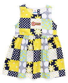 Child World Sleeveless Frock Floral Print - Yellow