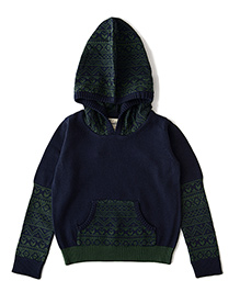 Weedots Full Sleeves Hooded Sweater - Green Navy