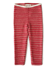 Weedots Full Length Stretch Leggings Aztec Print - Red