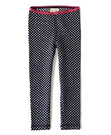 Weedots Full Length Stretch Leggings Polka Print - Navy Grey