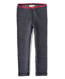 Weedots Full Length Stretch Leggings Polka Print - Navy Grey