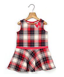 Beebay Sleeveless Check Tunic Dress - Red