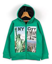 Beebay Full Sleeves NY City Hooded Sweatshirt - Green