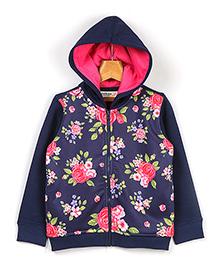 Beebay Floral Print Zip Up Hoodie - Navy Blue