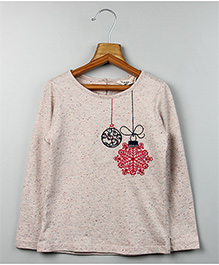 Beebay Full Sleeves Ornament Embroidered T-Shirt - Melange Grey