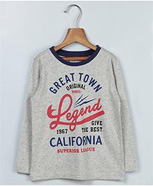 Beebay Full Sleeves California Print T-Shirt - Grey