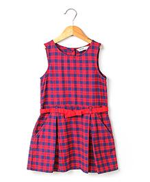 Beebay Sleeveless Checks Pleated Dress With Belt - Navy Red